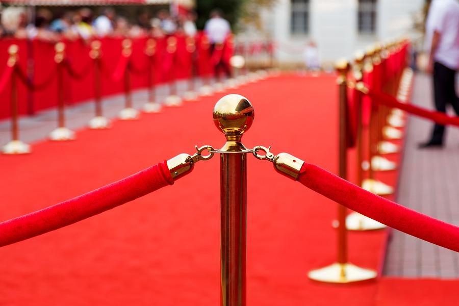 Red Velvet Ropes Blocking Off The Red Carpet
